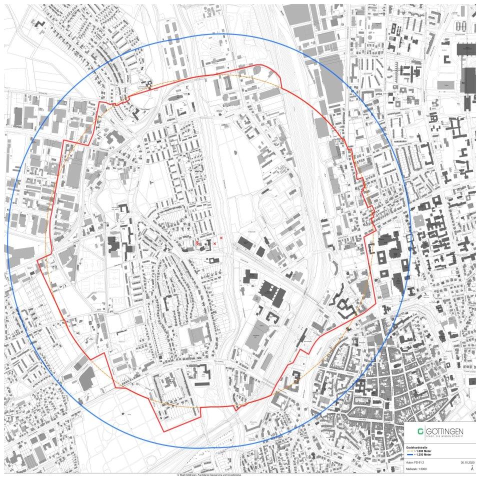 Der Evakuierungsradius für die Entschärfung. Anwohner in einem Umkreis von 1.000 Metern um die Fundstelle müssen an diesem Tag ihre Wohnungen verlassen.